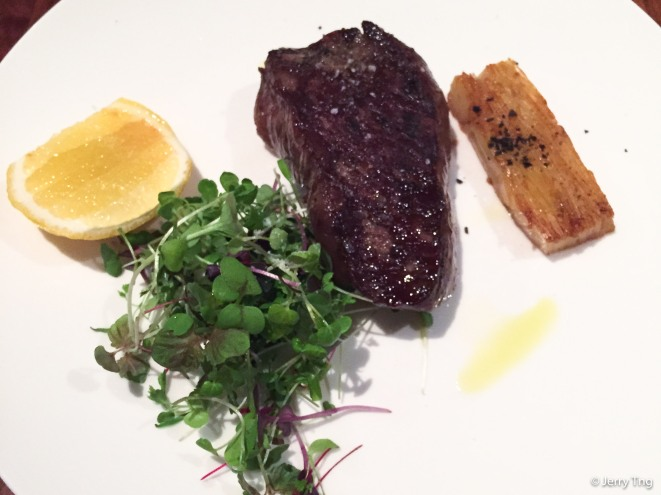 Beef City black eye fillet served with lemon, watercress and red wine jus