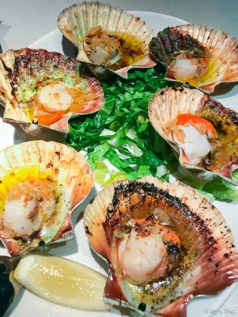 Hand dived port phillip bay scallops with herb and garlic butter