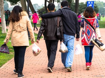 Changsha youths enjoying a weekend in the park