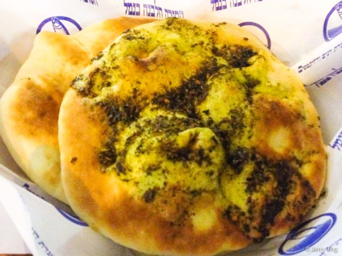Pita bread with herbs and garlic