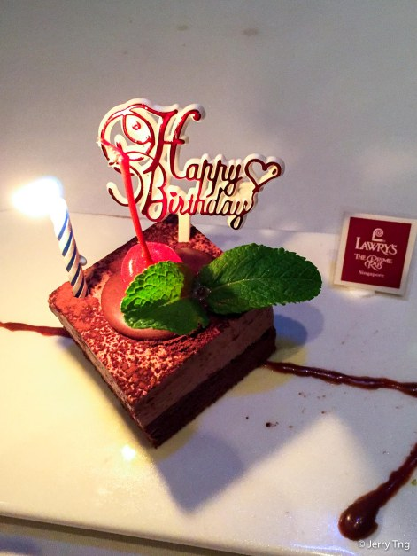 Special birthday treat from Lawry's