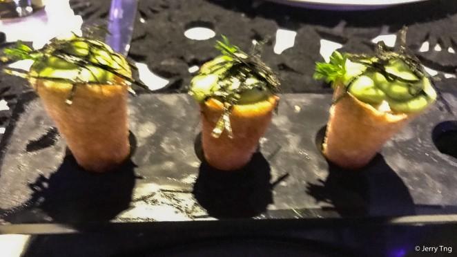 Crispy crab cones | cilantro, avocado mousse, ohba leaf