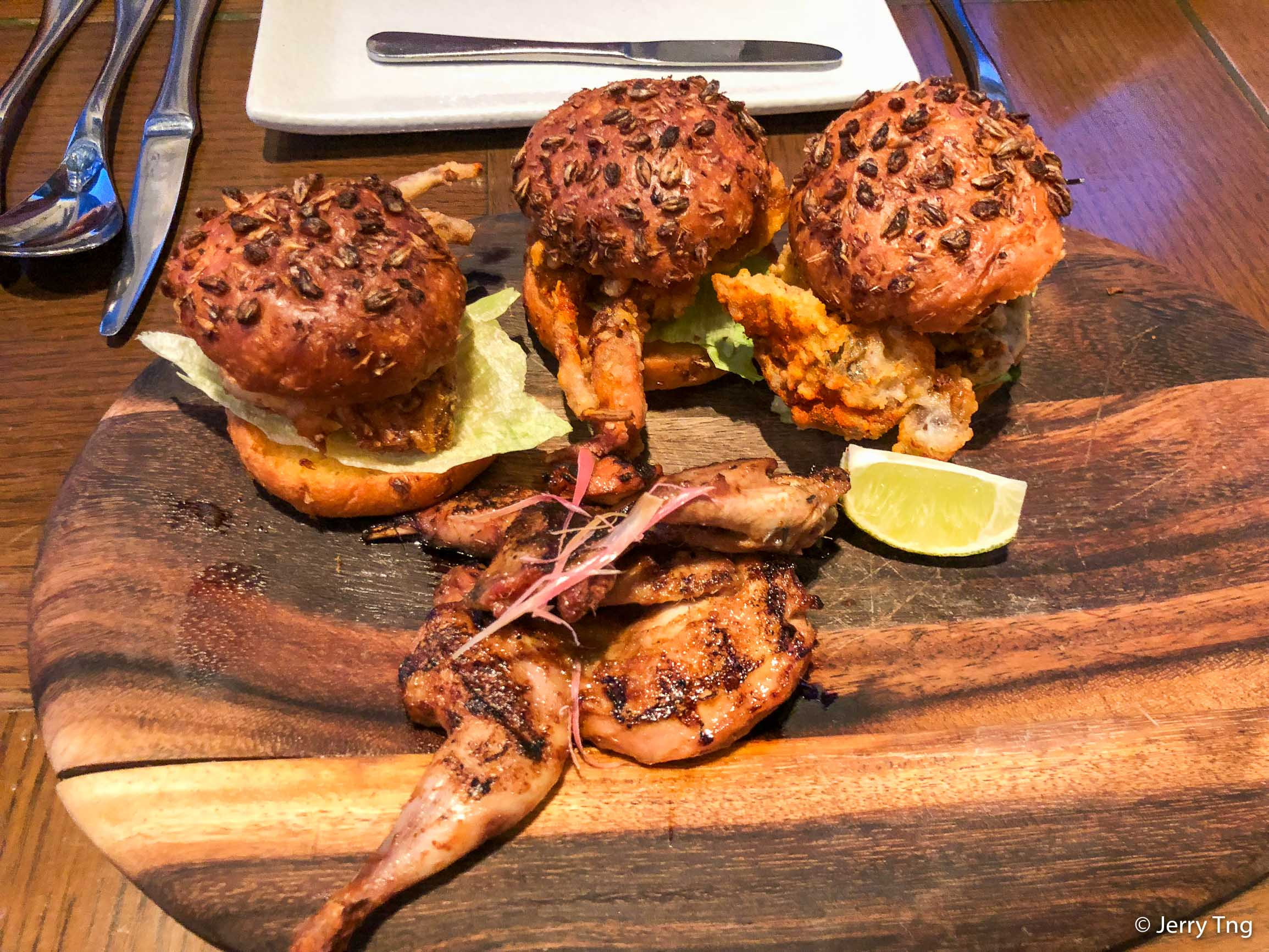 Chilli Soft Shell Brewery Sliders, Grilled Whole Quail with Ginger Flower